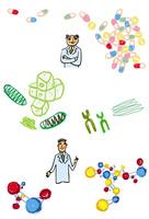 薬のカプセル、染色体を背景にした2人の学者