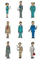 スーツ姿、作業着姿の9ポーズ
