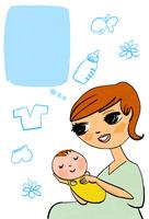 若い母親と赤ちゃんと育児グッズ