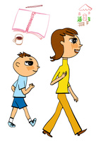 家とノートとコーヒーのイメージを背景に歩く母親と少年