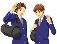 男子高校生二人組 バストアップ図 10425000004| 写真素材・ストックフォト・画像・イラスト素材|アマナイメージズ