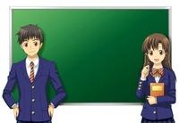 黒板の前に立つ男女の学生 10425000015| 写真素材・ストックフォト・画像・イラスト素材|アマナイメージズ