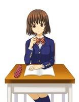 机に座って問題を解く女子学生