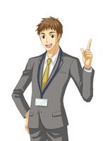 腰に手を当て人差し指を立てるサラリーマン 10425000053| 写真素材・ストックフォト・画像・イラスト素材|アマナイメージズ