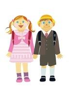 小学校の入学式の男の子と女の子