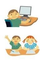 小学生のパソコン利用と勉強 10431000023| 写真素材・ストックフォト・画像・イラスト素材|アマナイメージズ