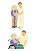 おばあさんを支えるヘルパーの男性