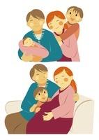 赤ちゃんのいる家族の笑顔の団らん