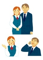 ビジネスマンとOL 案内と携帯通話