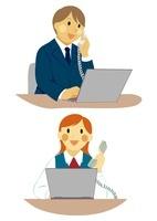 ビジネスマンとOL 電話応対のデスクワーク