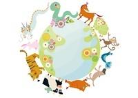 巳年年賀状 地球をまわる十二支の動物と花