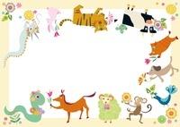 巳年年賀状 蛇の誕生日を祝う十二支の動物たち
