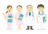 医療現場で働く人々(医者,看護師)