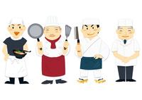 商店街で働く人々(ラーメン屋,店主,コック,板前,料理人)