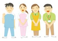 医療現場で働く人々(看護師、介護福祉士、ヘルパー)