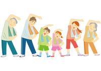 運動をする笑顔の三世代家族