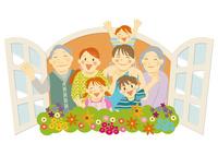 花の咲く窓から手を振る三世代家族