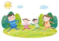 マラソンをする笑顔の家族