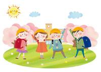 桜咲く校舎とランドセルを背負い手を振る小学一年生