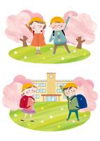 桜咲く校舎とランドセルを背負い手を振る小学一年生 10431000140| 写真素材・ストックフォト・画像・イラスト素材|アマナイメージズ