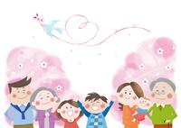 桜の花と三世代家族の明るい未来