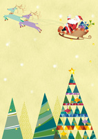 クリスマスツリーとソリにのるサンタクロース