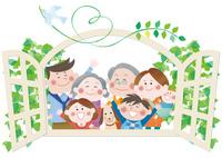 新緑の窓辺の三世代家族と希望