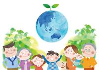 三世代家族とエコロジー 地球と成長する双葉 10431000192| 写真素材・ストックフォト・画像・イラスト素材|アマナイメージズ