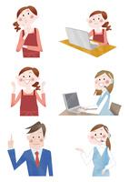 主婦とジネスマンとコールセンター 問い合わせと案内と携帯通話