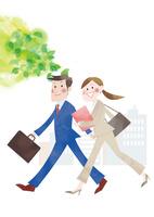 新緑とビジネスマンとオフィスレディ
