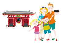 外国人家族の日本観光 浅草雷門