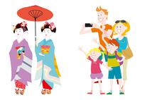 外国人家族の日本観光 京都の舞妓さん