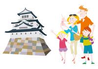 外国人家族の日本観光 日本の城