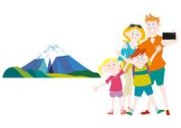 外国人家族の日本観光 富士山