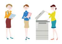 オフィスで働く女性・オフィスでコピーをとる女性