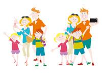 観光を楽しむ外国人家族の集団
