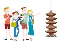 外国人観光客の日本観光 五重塔