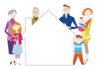 家の形のフレームを持つ三世代家族