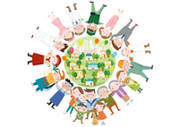 円陣を組む様々な職業の人物の集合体