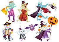 ハロウィンのパレードをするお化けと仮装する子供たち