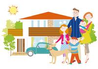 マイホームと家族と犬