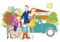 三世代家族と犬とマイホーム 三世帯家族と二世帯住宅 10431000324| 写真素材・ストックフォト・画像・イラスト素材|アマナイメージズ