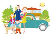マイホームと家族と犬 10431000325| 写真素材・ストックフォト・画像・イラスト素材|アマナイメージズ