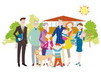 三世代家族と犬とマイホーム 三世帯家族と二世帯住宅 10431000326| 写真素材・ストックフォト・画像・イラスト素材|アマナイメージズ