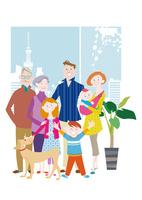 三世代家族と犬 10431000331| 写真素材・ストックフォト・画像・イラスト素材|アマナイメージズ