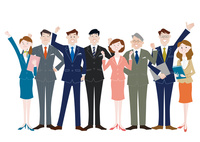 ガッツポーズをするビジネスマンとビジネスウーマン 10431000341| 写真素材・ストックフォト・画像・イラスト素材|アマナイメージズ