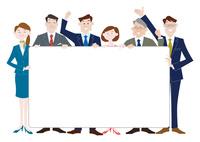 パネルを持つビジネスマンとビジネスウーマン 10431000343| 写真素材・ストックフォト・画像・イラスト素材|アマナイメージズ