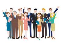 ガッツポーズをするビジネスマンとビジネスウーマン 10431000347| 写真素材・ストックフォト・画像・イラスト素材|アマナイメージズ