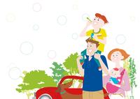 肩車をしてシャボン玉をする親子と犬と車 10431000350| 写真素材・ストックフォト・画像・イラスト素材|アマナイメージズ