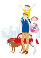 肩車をする親子と犬と車 10431000362| 写真素材・ストックフォト・画像・イラスト素材|アマナイメージズ